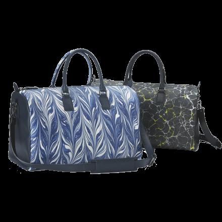 友禅染牛革と裏地西陣織技法のテキスタイルを用いたボストンバッグ